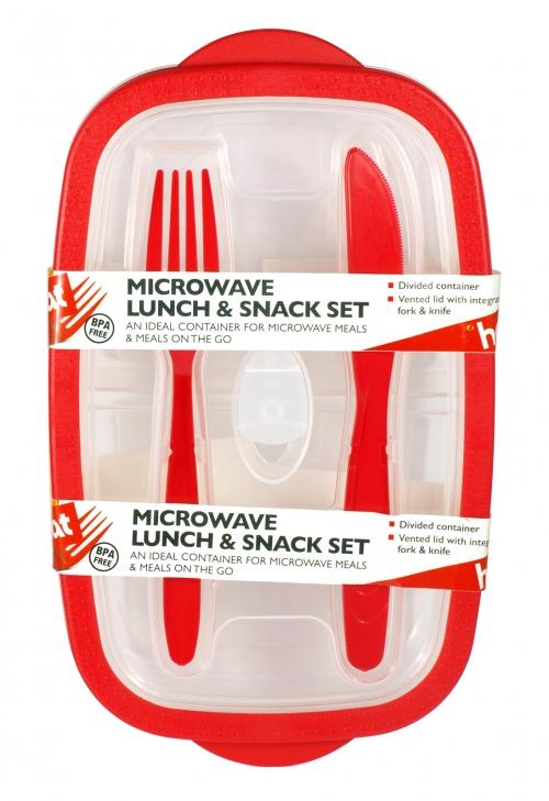 HEAT+EAT MICROWAVE BOX+KNIFE+FORK