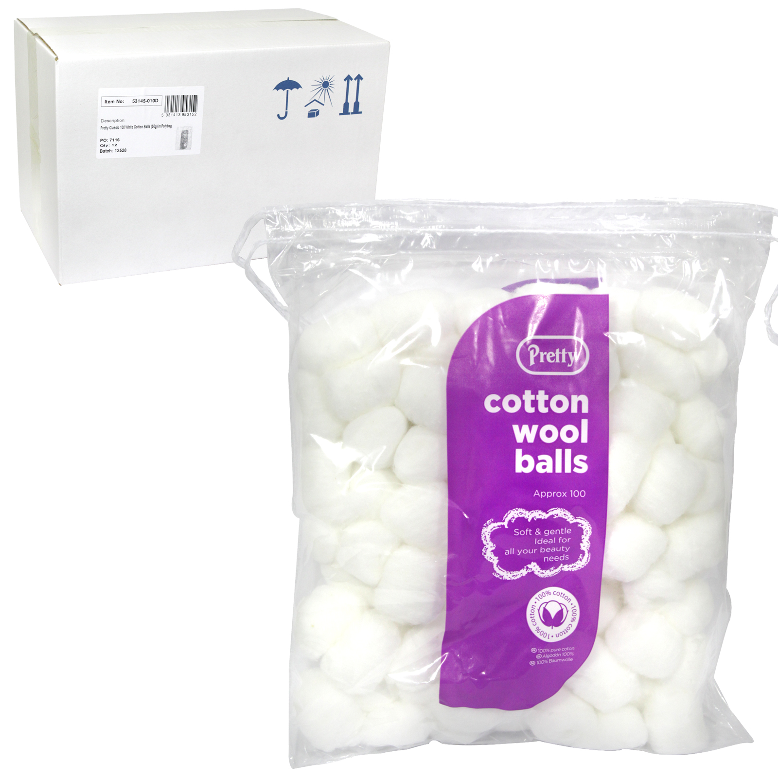 PRETTY COTTON WOOL BALLS 100S WHITE X12