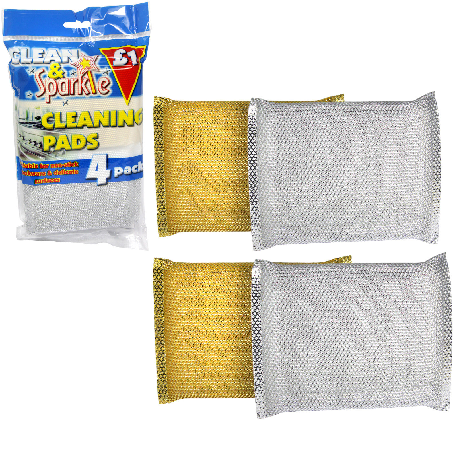CLEAN+SPARKLE ?1 CLEANING PADS 4PK