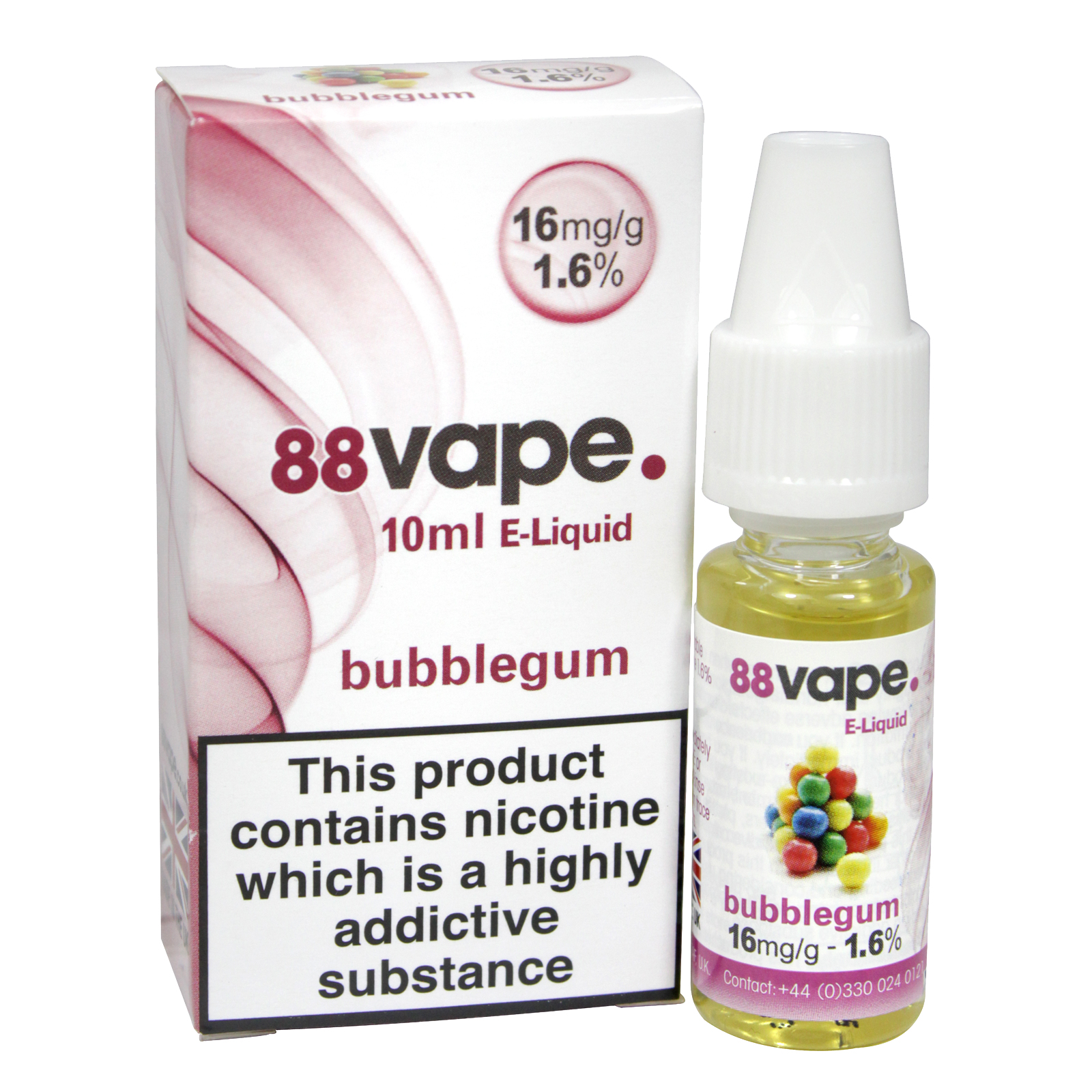 88VAPE 10ML E-LIQUID 16MG BUBBLEGUM