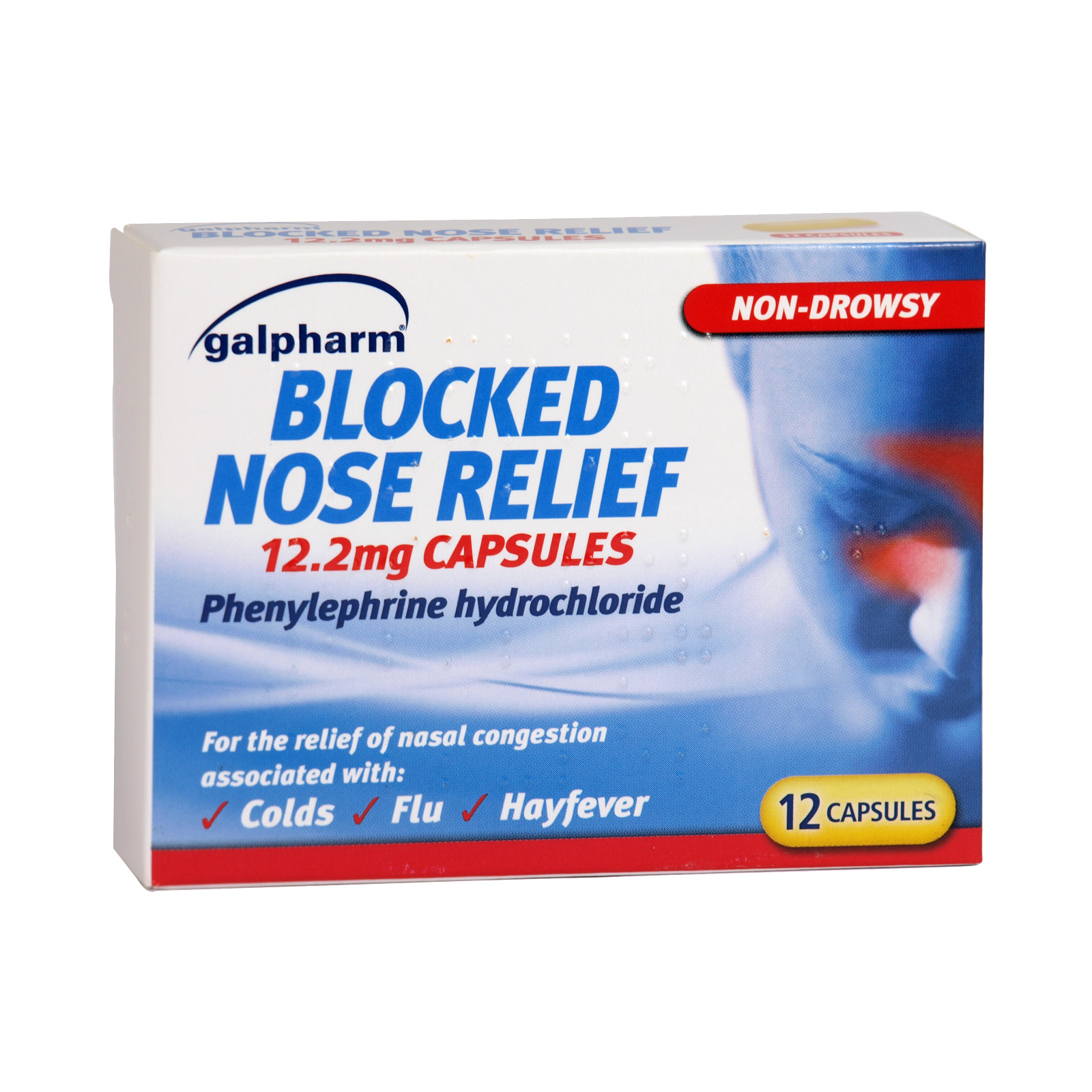 GALPHARM BLOCKED NOSE RELIEF 12 CAPS X10