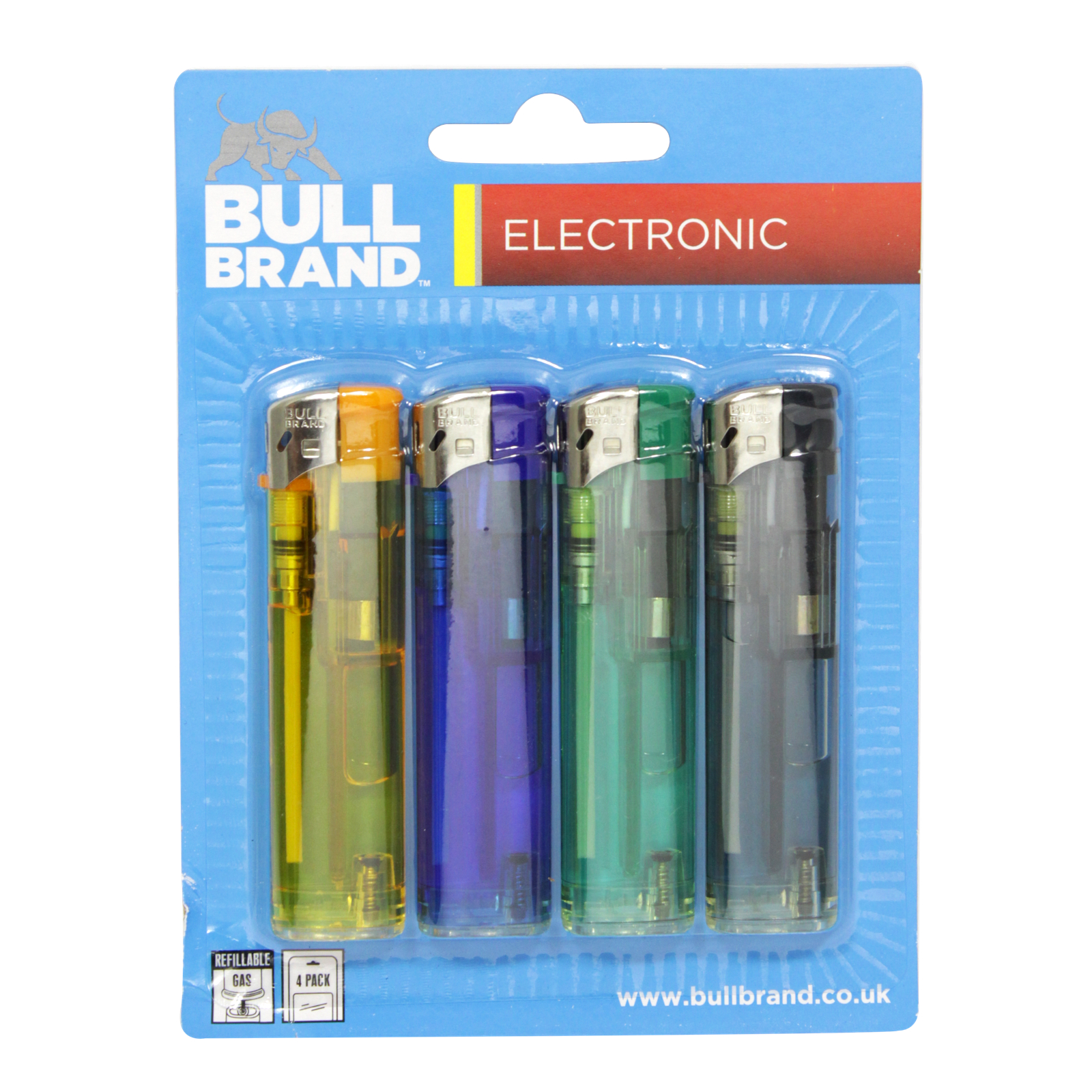 BULLBRAND 4PK ELECTRONIC LIGHTERS