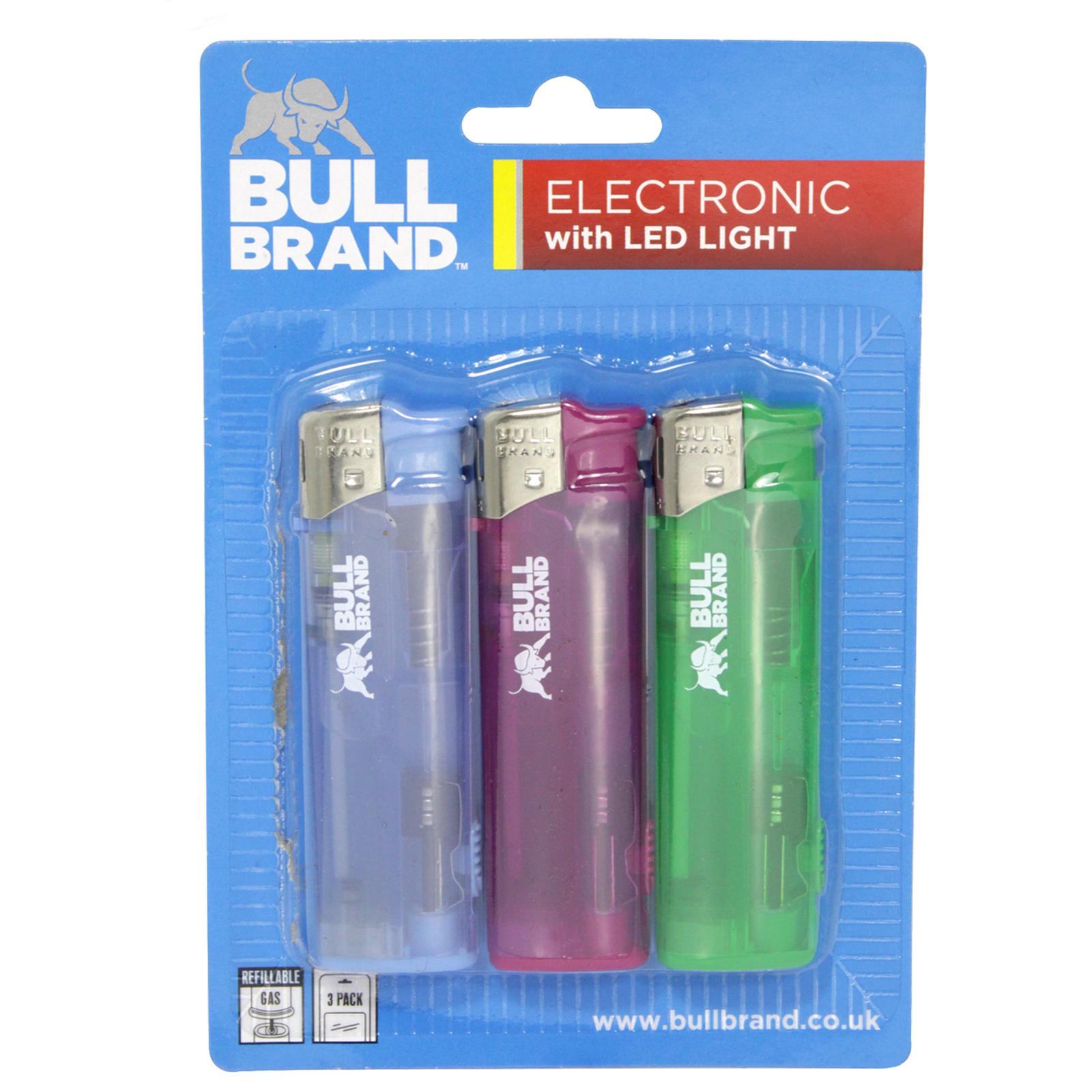BULLBRAND 3PK ELECTRONIC LIGHTERS+LED X30
