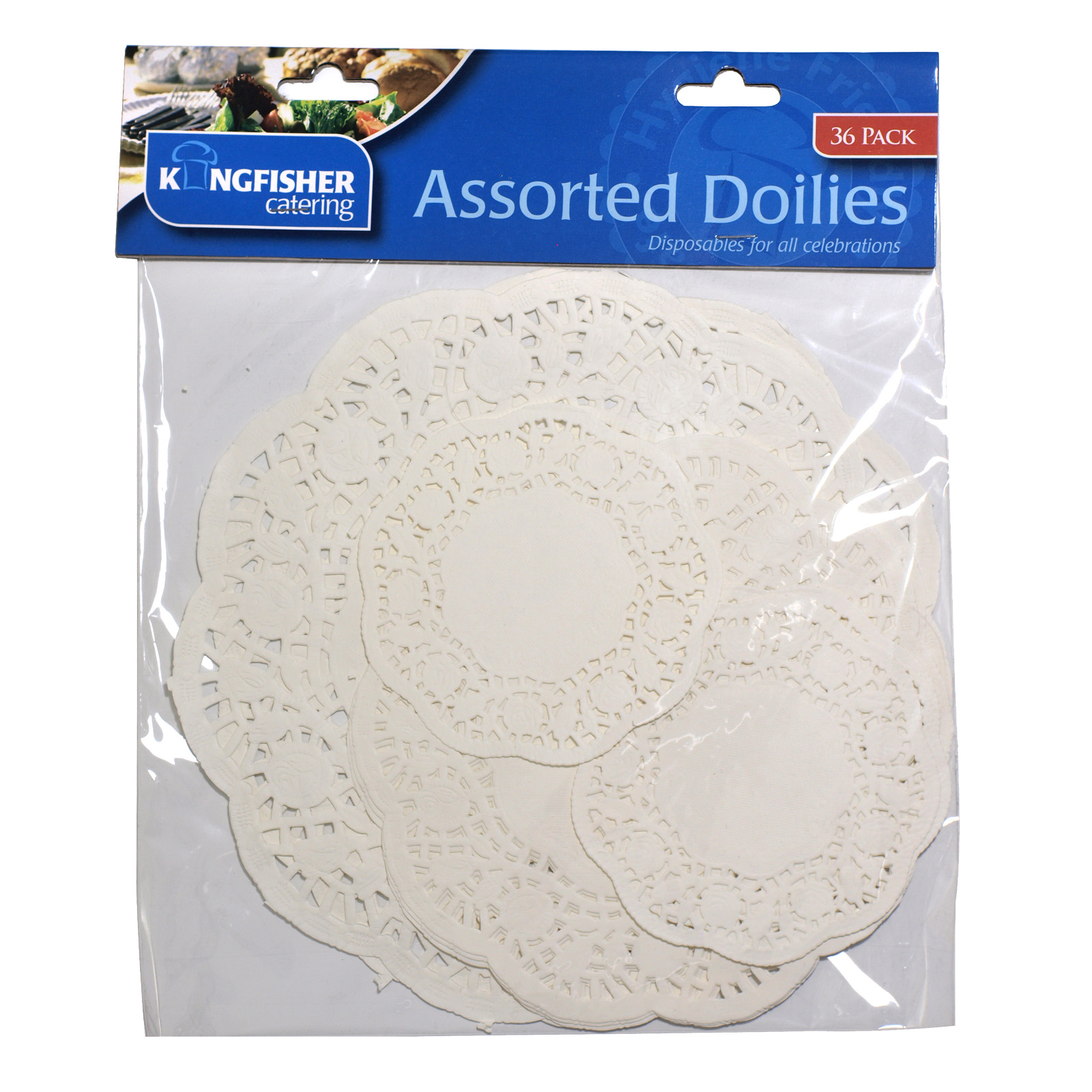 KINGFISHER 36PK ASSORTED PAPER DOILIES