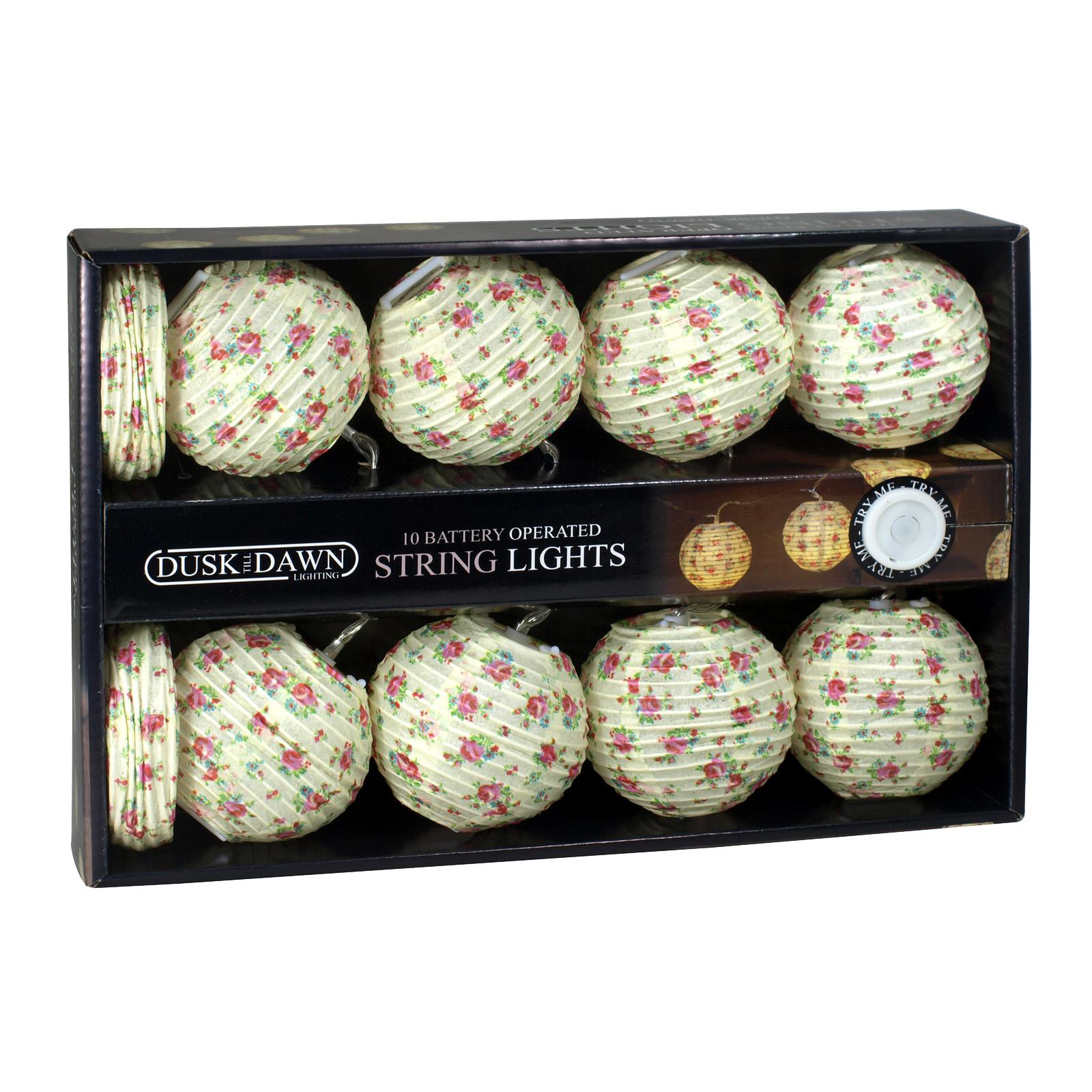 DUSKTILLDAWN B/O 10 INDOOR STRING LIGHTS FLORAL PAPER BALLS