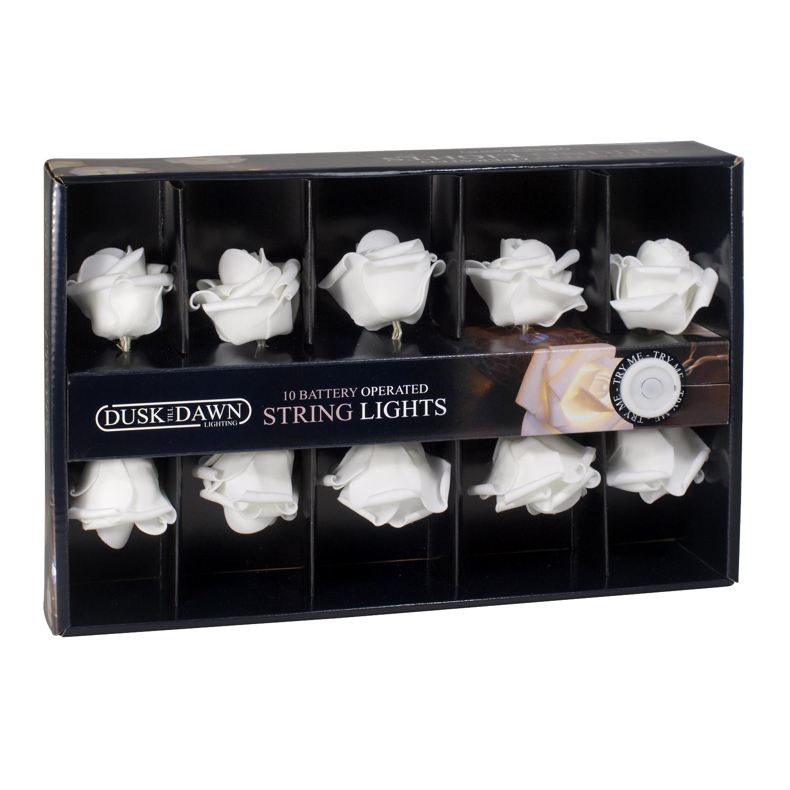 DUSKTILLDAWN B/O 10 INDOOR STRING LIGHTS WHITE ROSES