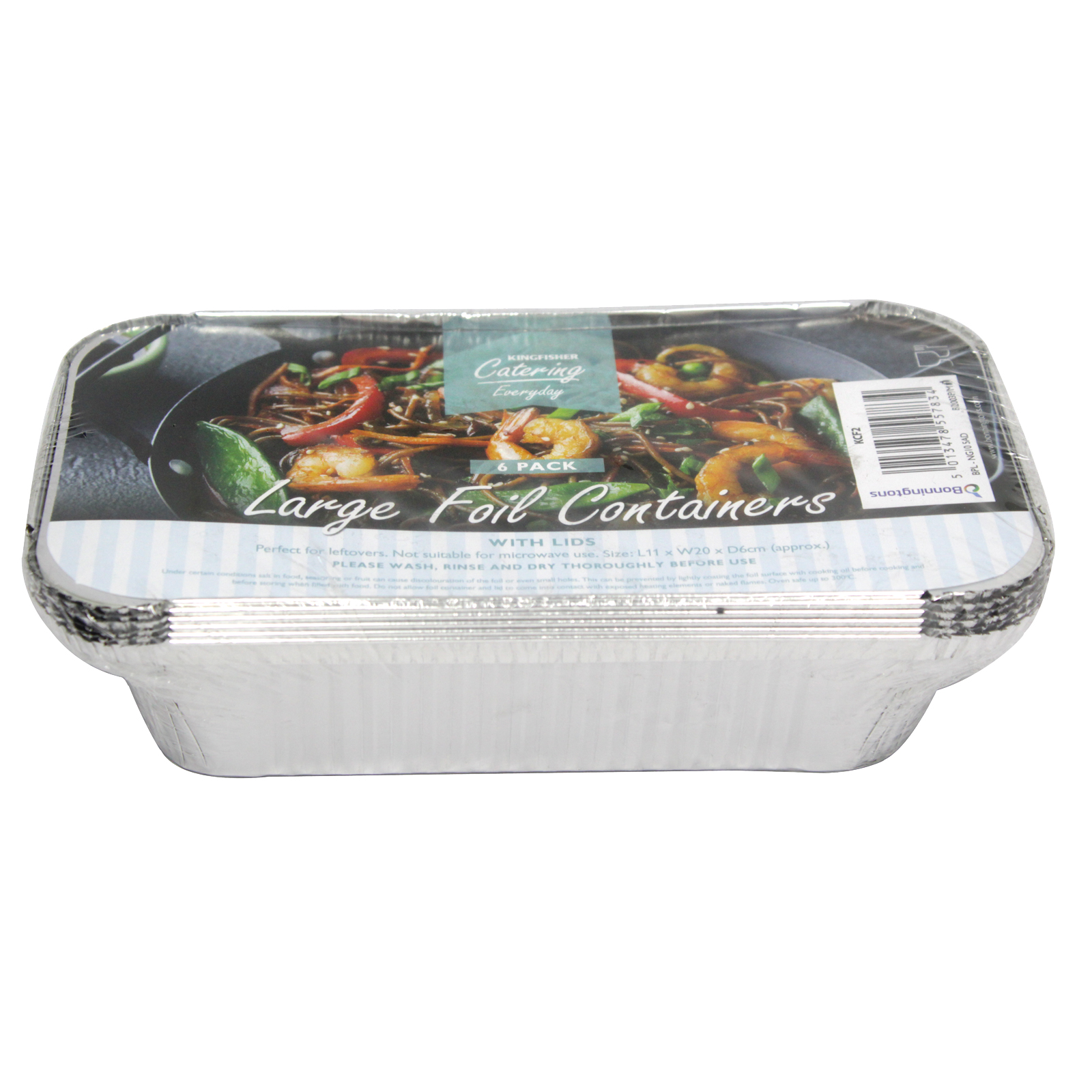 KINGFISHER 6PK LGE FOIL CONTAINER+LID