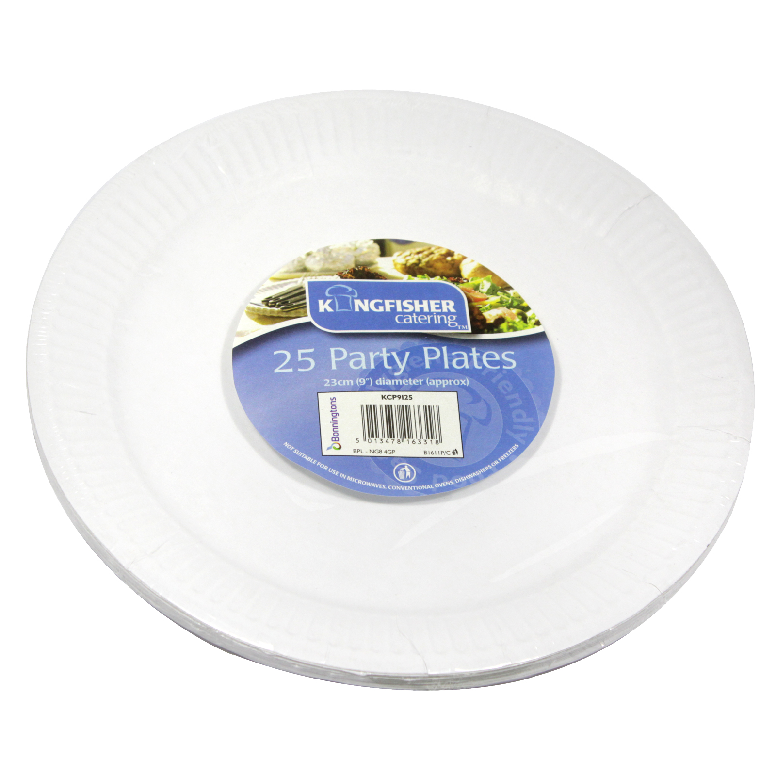 KINGFISHER 25X9 PAPER PLATES WHITE