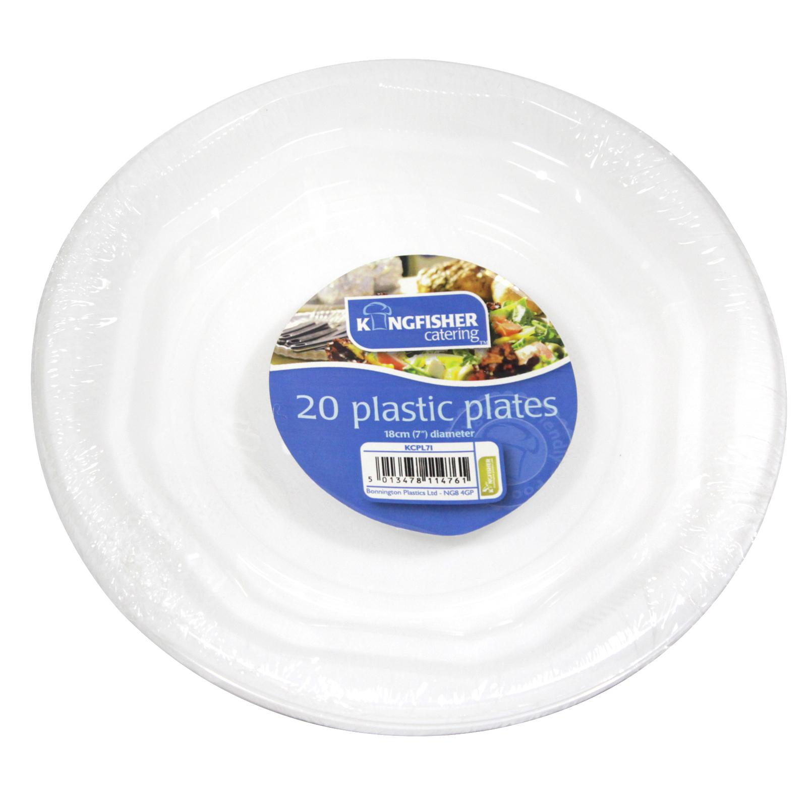 KINGFISHER 20X7 PLASTIC PLATES WHITE