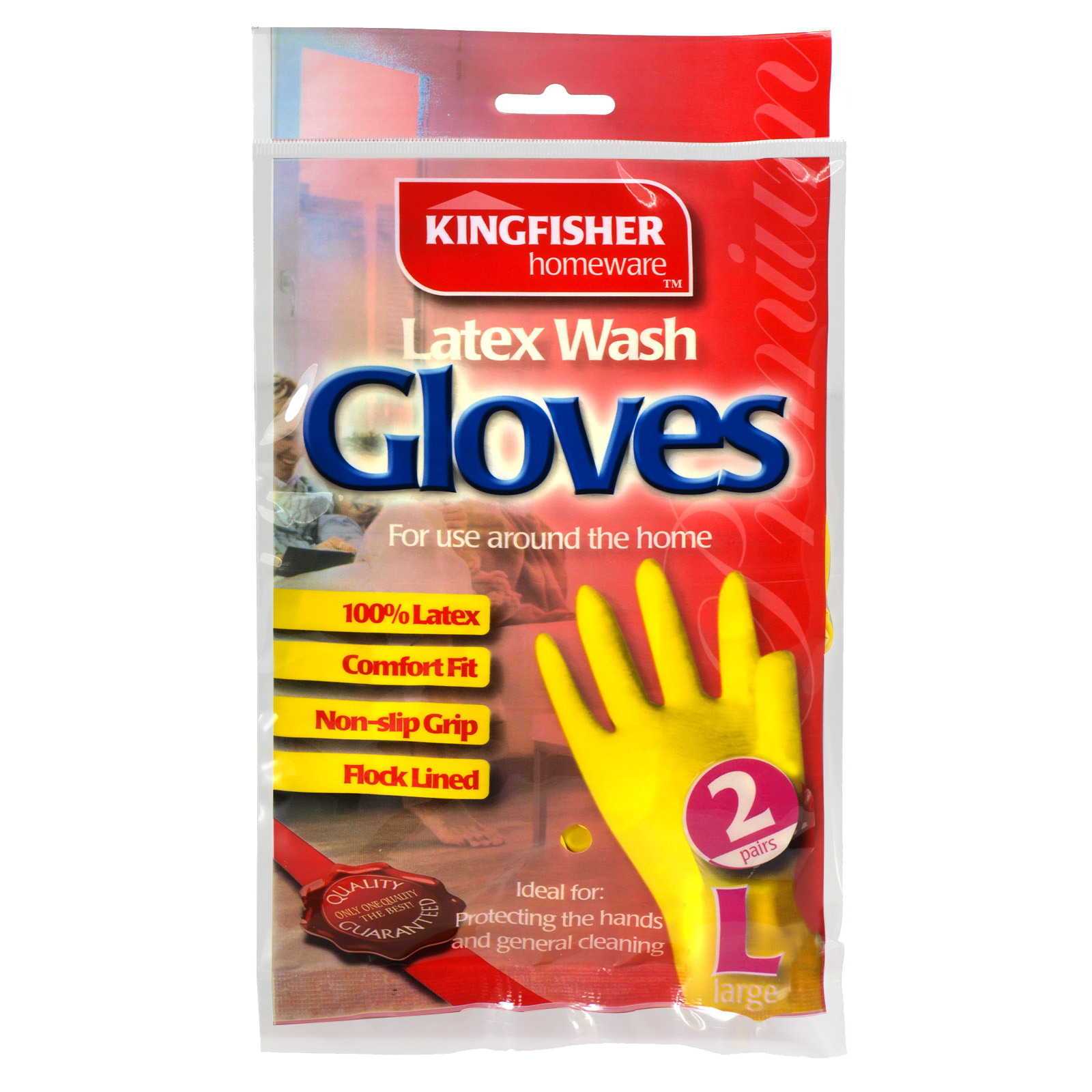 KINGFISHER LATEX H/HOLD GLOVES 2PK LARGE X6