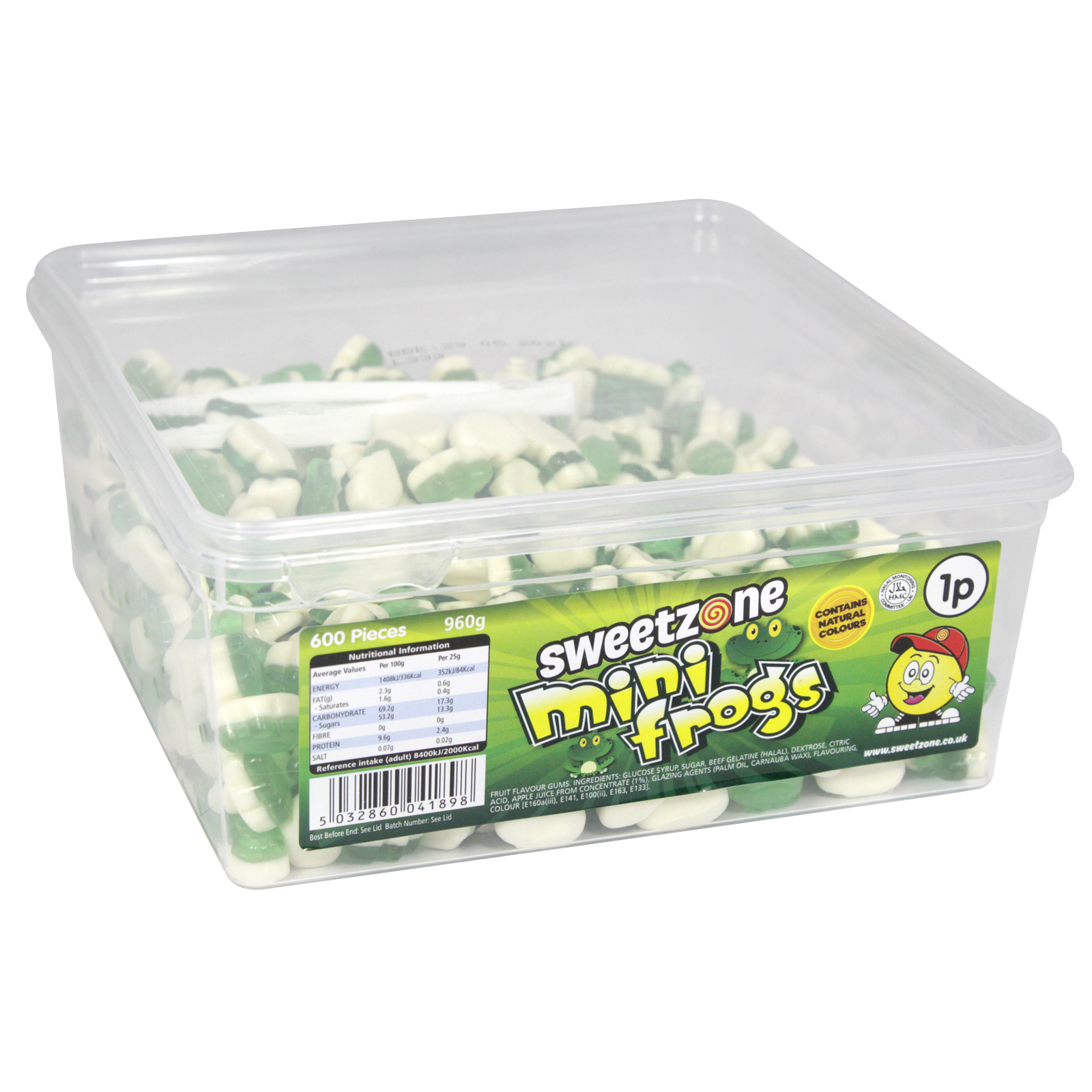 SWEETZONE MINI FROGS TUB 600 PIECES X 1P