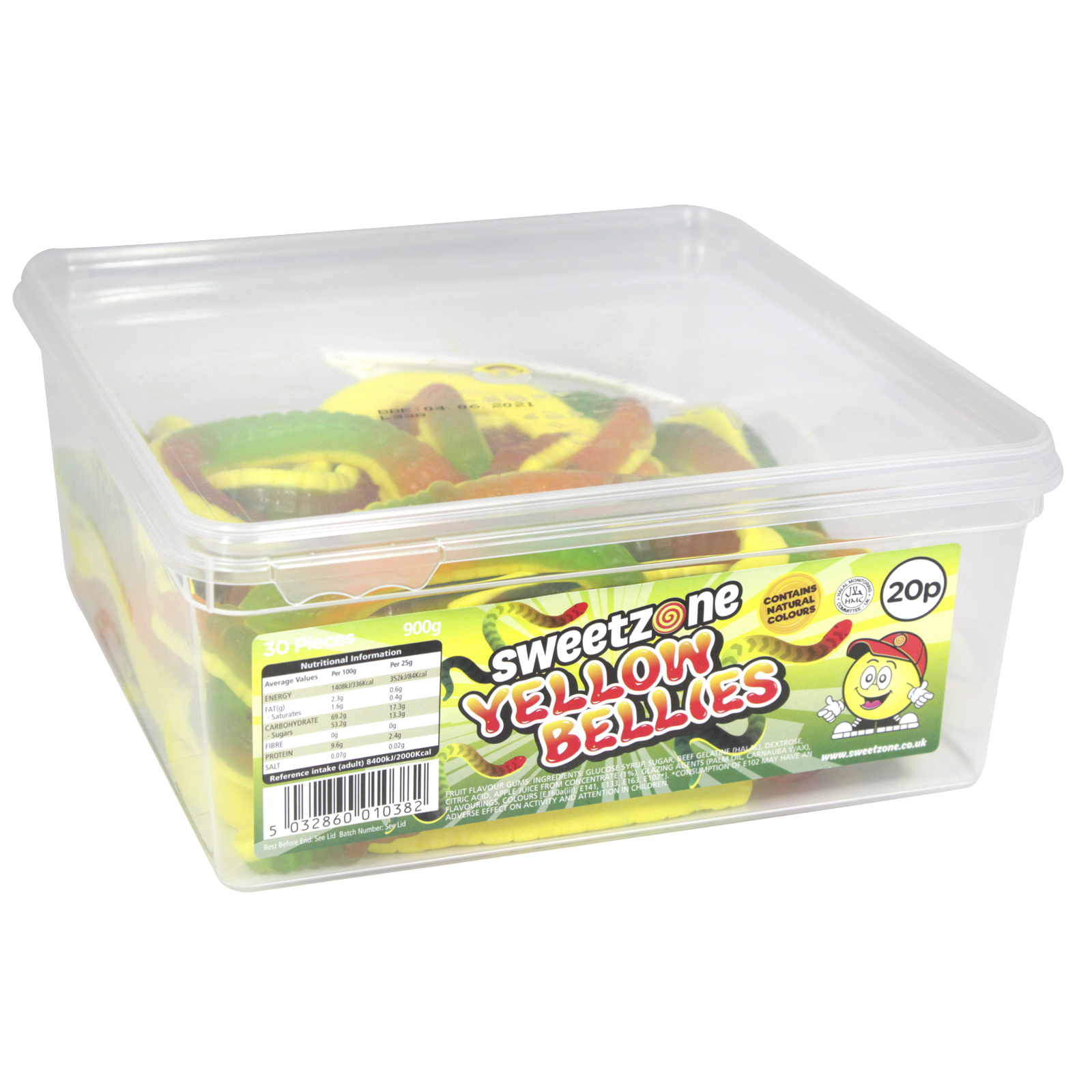 SWEETZONE GIANT YELLOW BELLIES TUB 30 PIECES X 20P