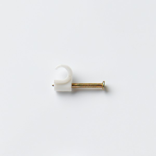 STARPACK CABLE CLIP ROUND WHITE 6.0MM TV-COAX QTY:30