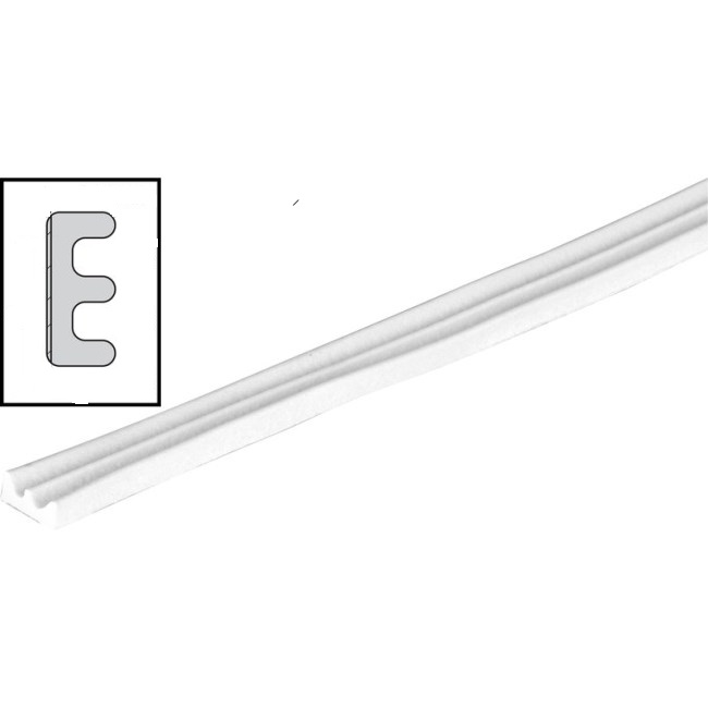 RUBBER DRAUGHT EXCLUDER E PROFILE 5 METER LENGTH GAP 3.5MM WHITE QTY: 1