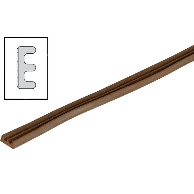 RUBBER DRAUGHT EXCLUDER E PROFILE 5 METER LENGTH GAP 3.5MM BROWN QTY:1