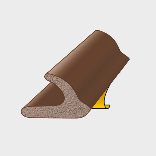 RUBBER DRAUGHT EXCLUDER V PROFILE 5 METER LENGTH GAP 6.5MM BROWN QTY:1