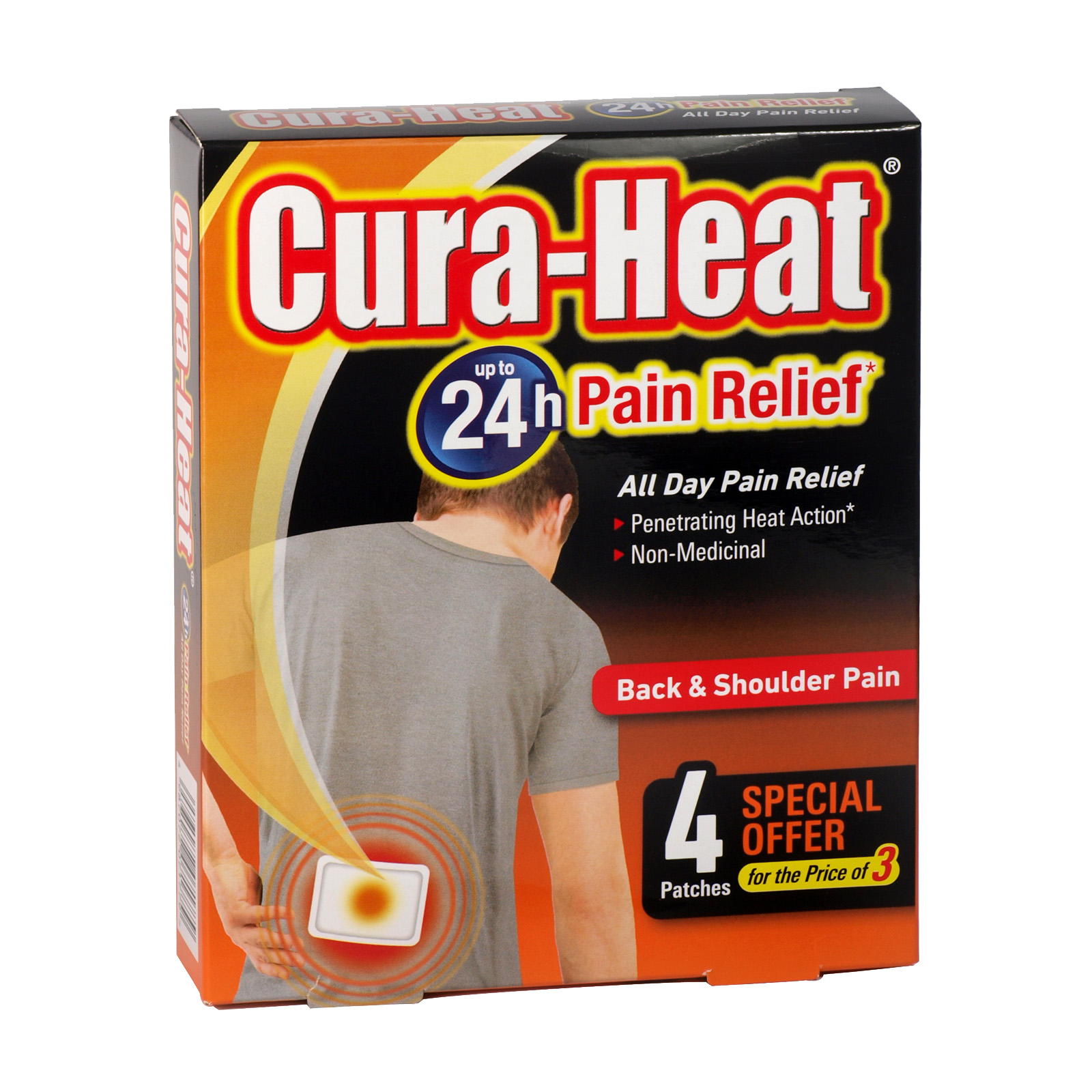 CURA-HEAT BACK+SHOULDER PAIN 3+1FOC X6