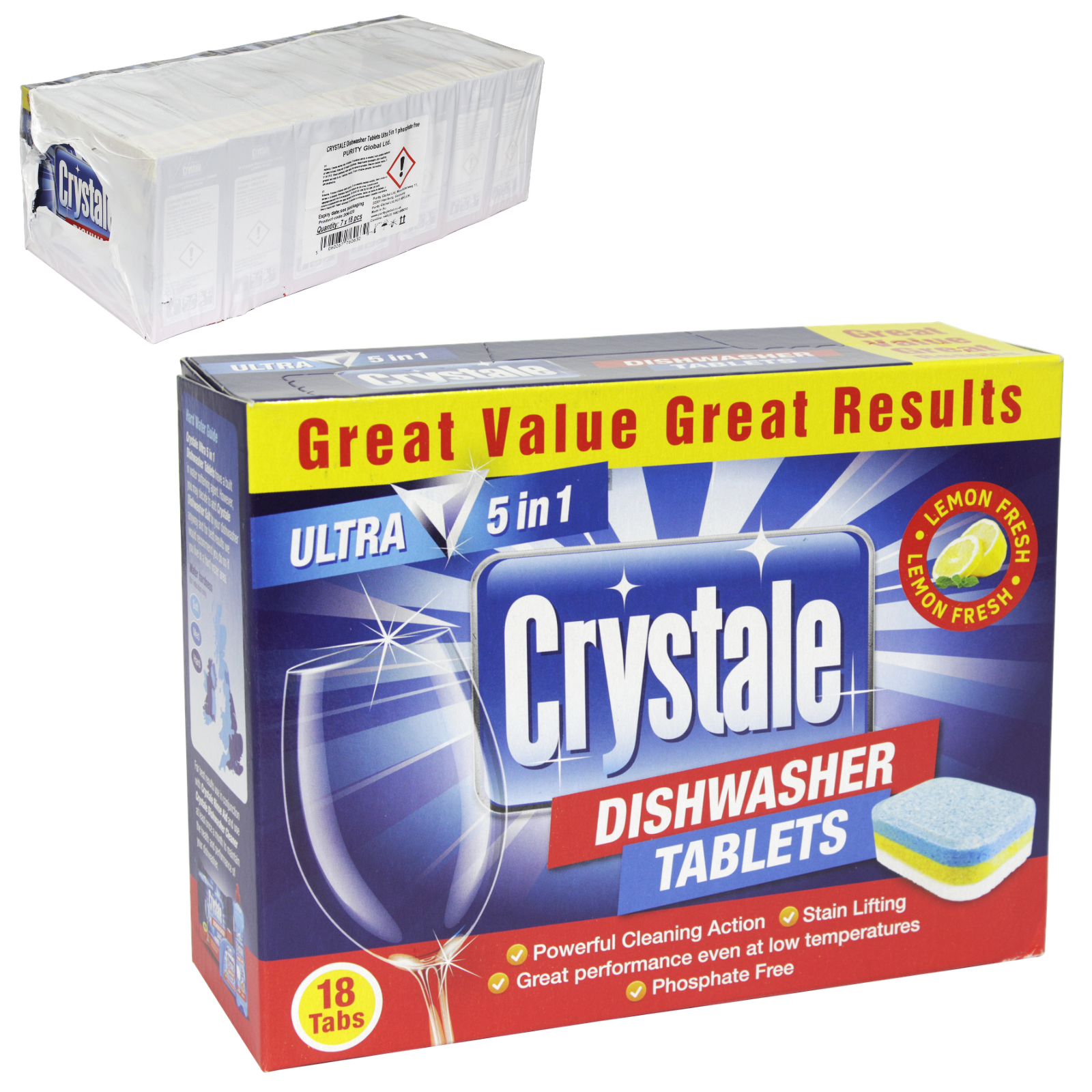 CRYSTALE DISHWASHER TABS 18S LEMON FRESH X7