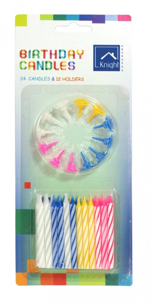 KNIGHT BIRTHDAY 24 CANDLES+12 HOLDER X12