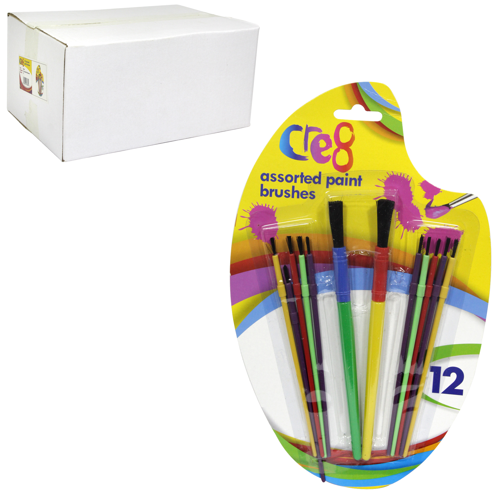 PENNINE KIDS 12 ASSORTED PAINT BRUSHES X12