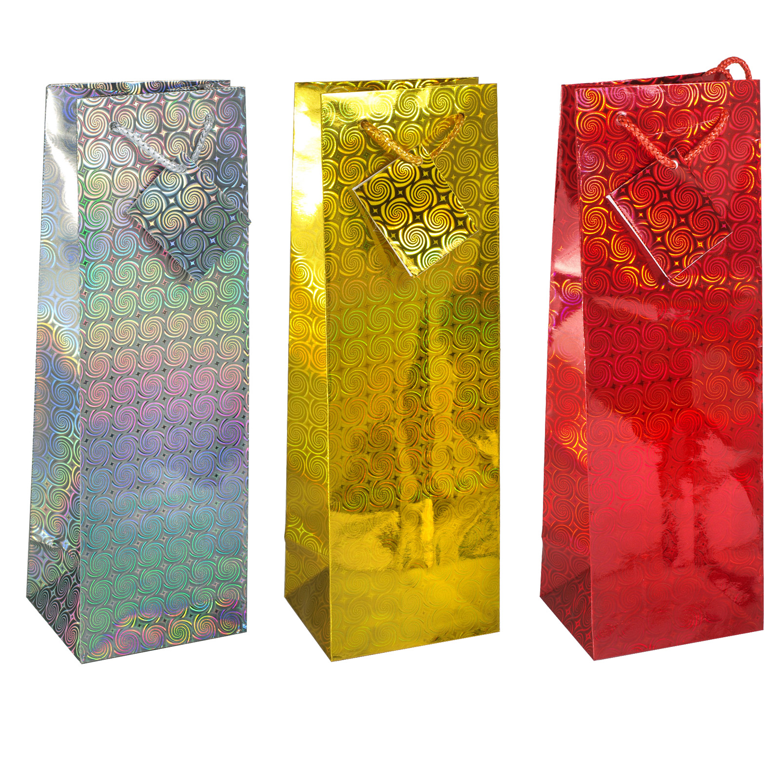 GIFT BAGS HOLOGRAPHIC BAG BOTTLE X12