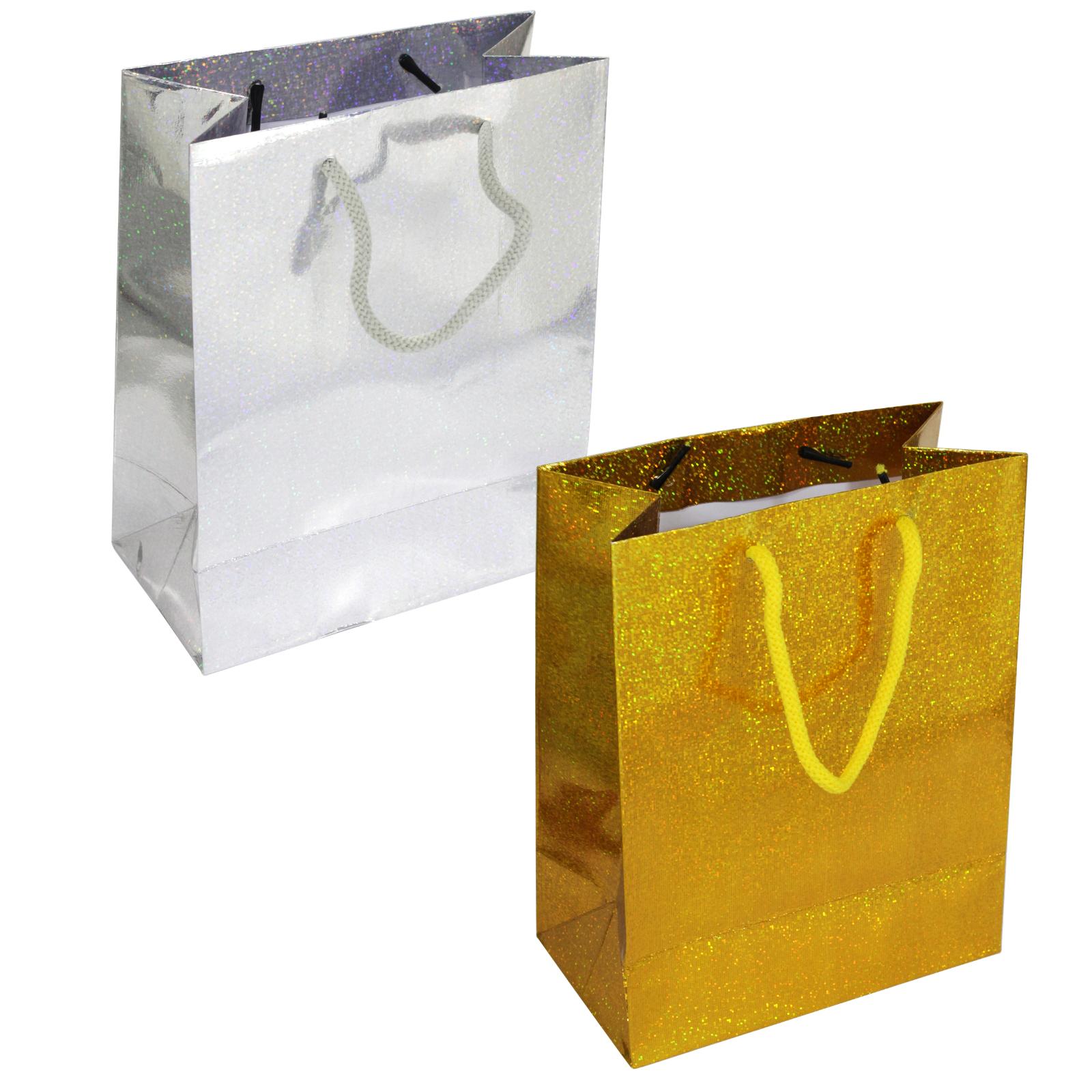 GIFT BAGS HOLOGRAPHIC BAG MEDIUM X12