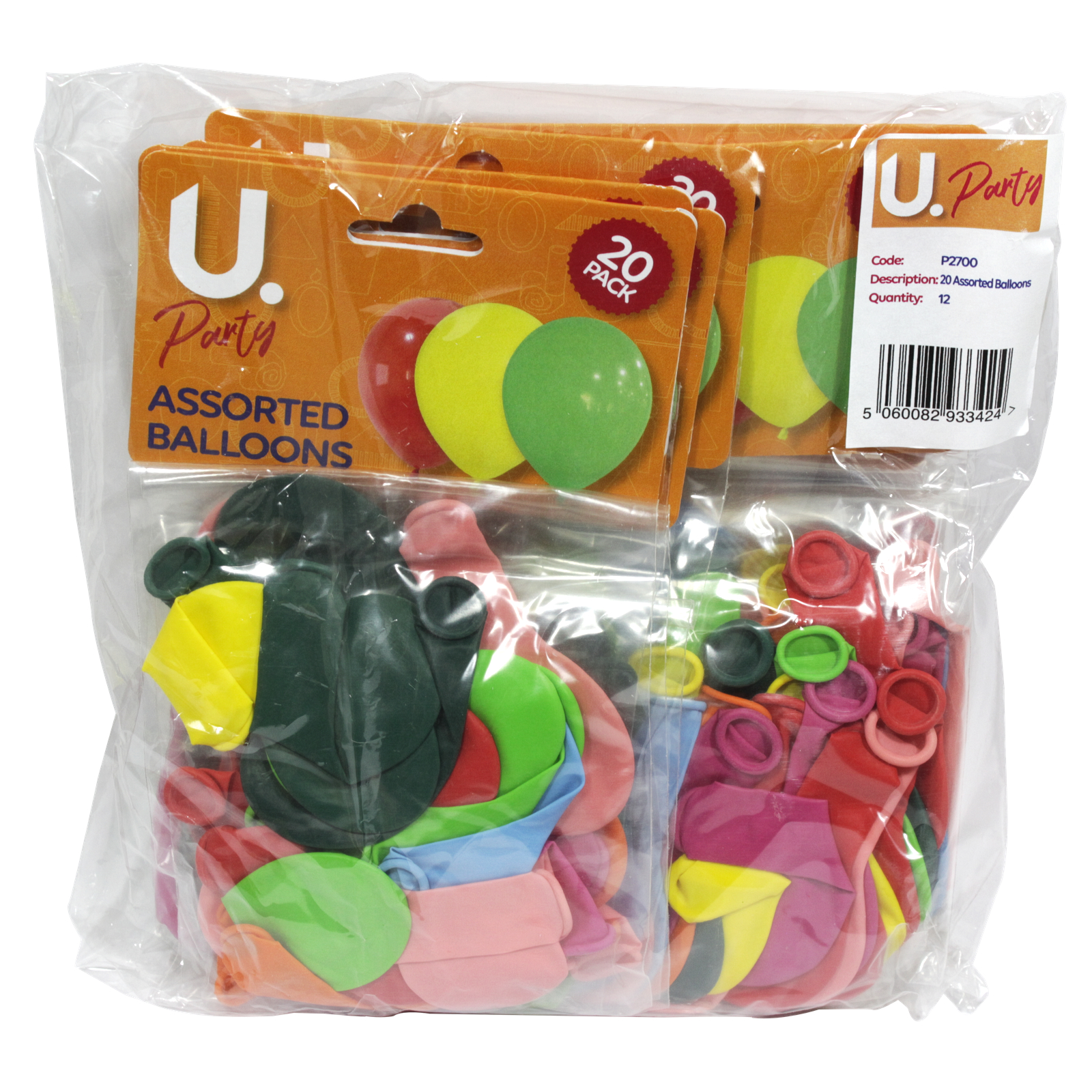 PARTY BALLOONS 25PK ASSORTED X12