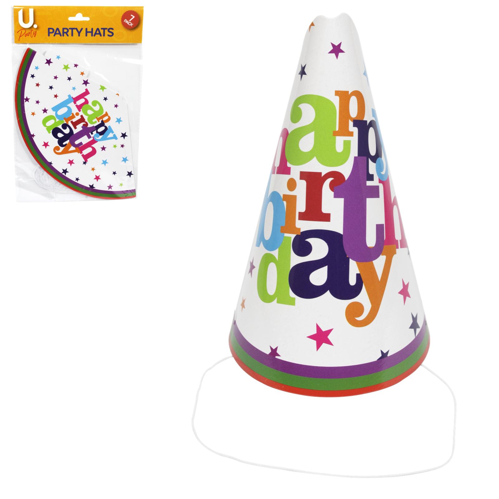 HAPPY BIRTHDAY PARTY HATS 8PK