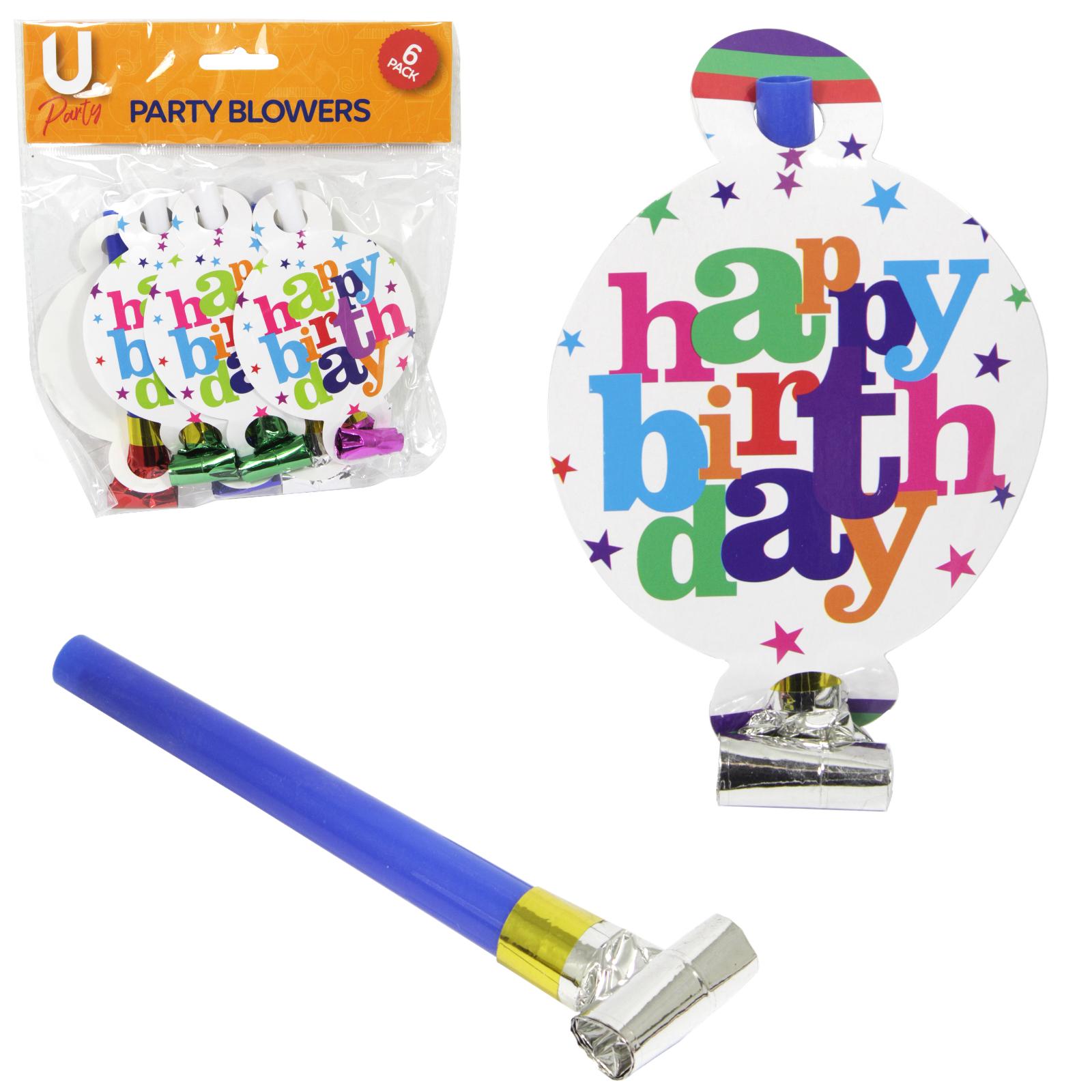 HAPPY BIRTHDAY PARTY BLOWERS 8PK