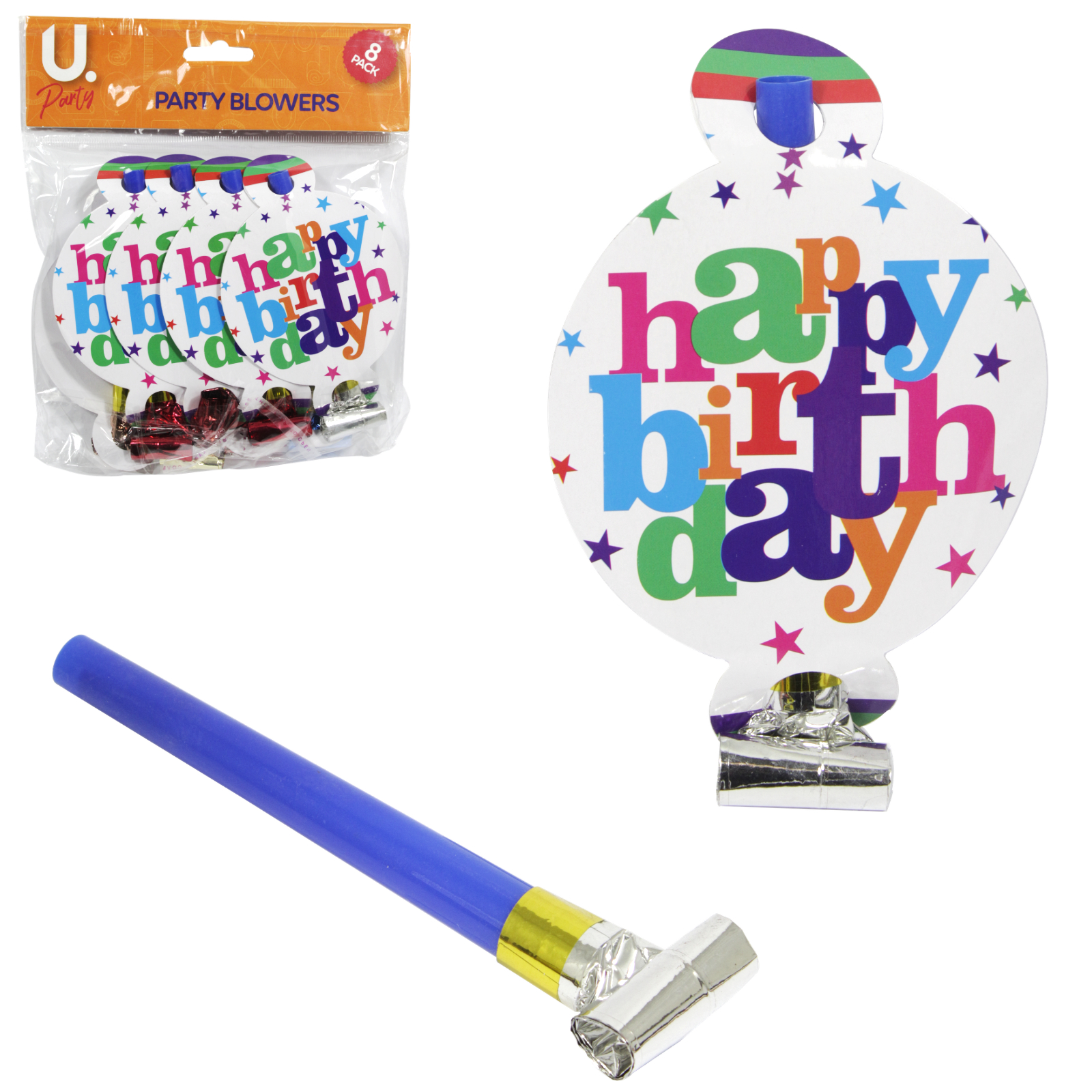 HAPPY BIRTHDAY PARTY BLOWERS 8PK