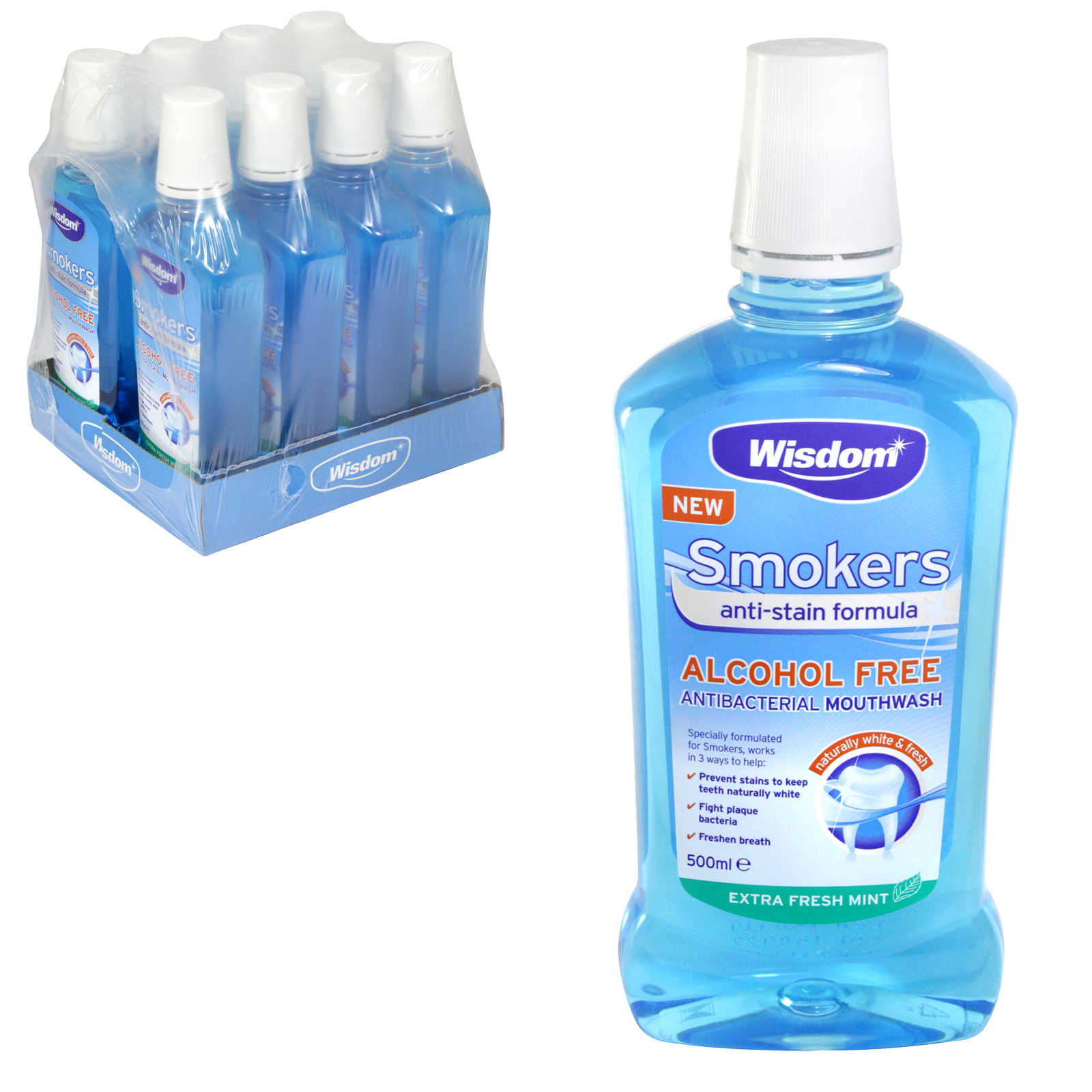 WISDOM SMOKERS MOUTHWASH 500ML X6