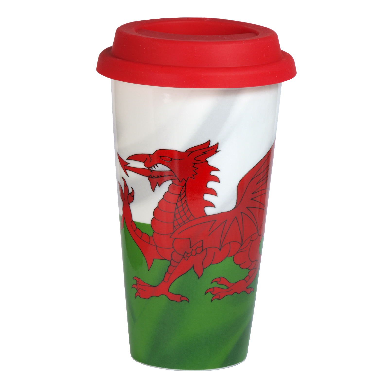 WELSH FLAG TRAVEL MUG+RED LID