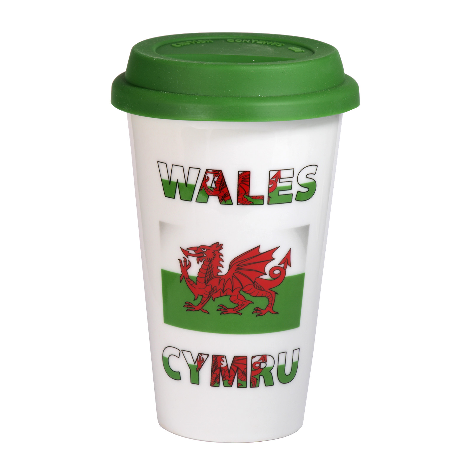 WELSH FLAG TRAVEL MUG+GREEN LID