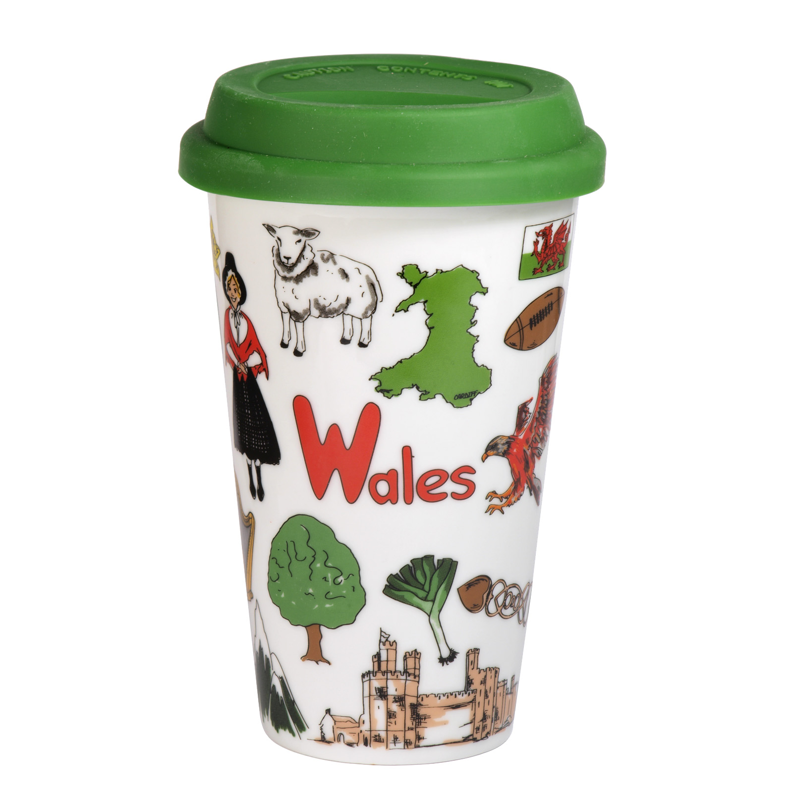 WELSH SCENE TRAVEL MUG+GREEN LID