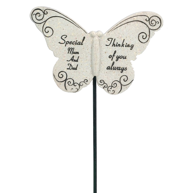 BUTTERFLY STICK SPECIAL MUM & DAD 31X10CM