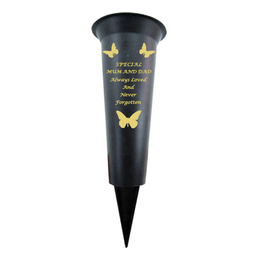 SPECIAL MUM & DAD PLASTIC SPIKE MEMORIAL VASE