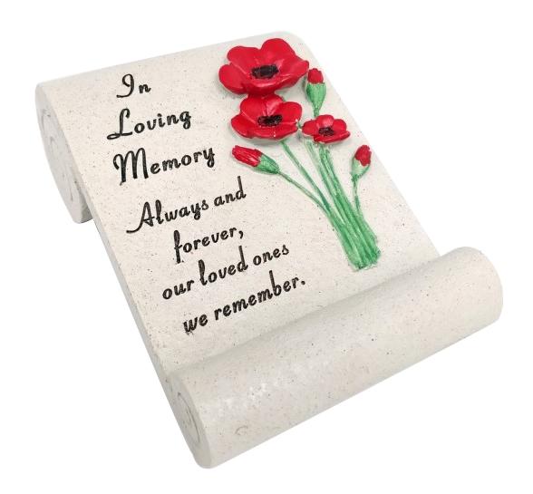 IN LOVING MEMORY POPPY SCROLL 20X14CM