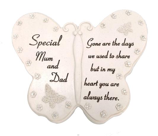 SPECIAL MUM & DAD DIAMANTE BUTTERFLY BOOK