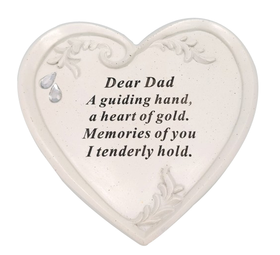 DAD DIAMANTE HEART PLAQUE 15X14CM