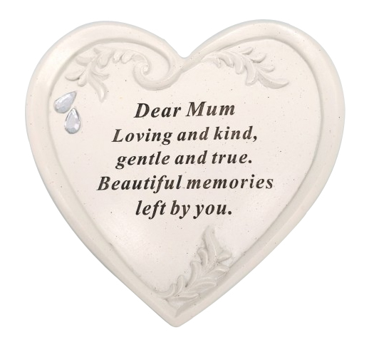 MUM DIAMANTE HEART PLAQUE 15X14CM