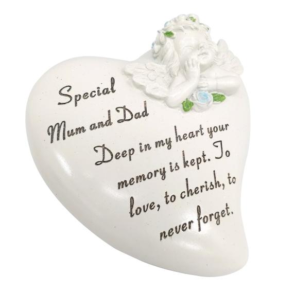 MUM & DAD CHERUB HEART 15X15CM