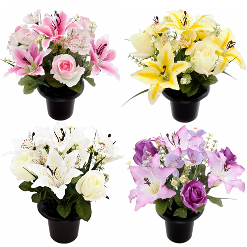 CEMETERY POT ROSE & LILY ASSORTED
