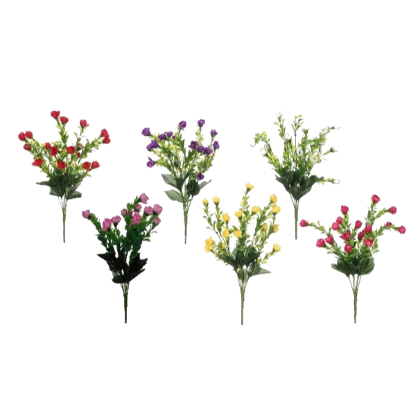 MINI ROSEBUD BUSH 37CM ASSORTED COLOURS