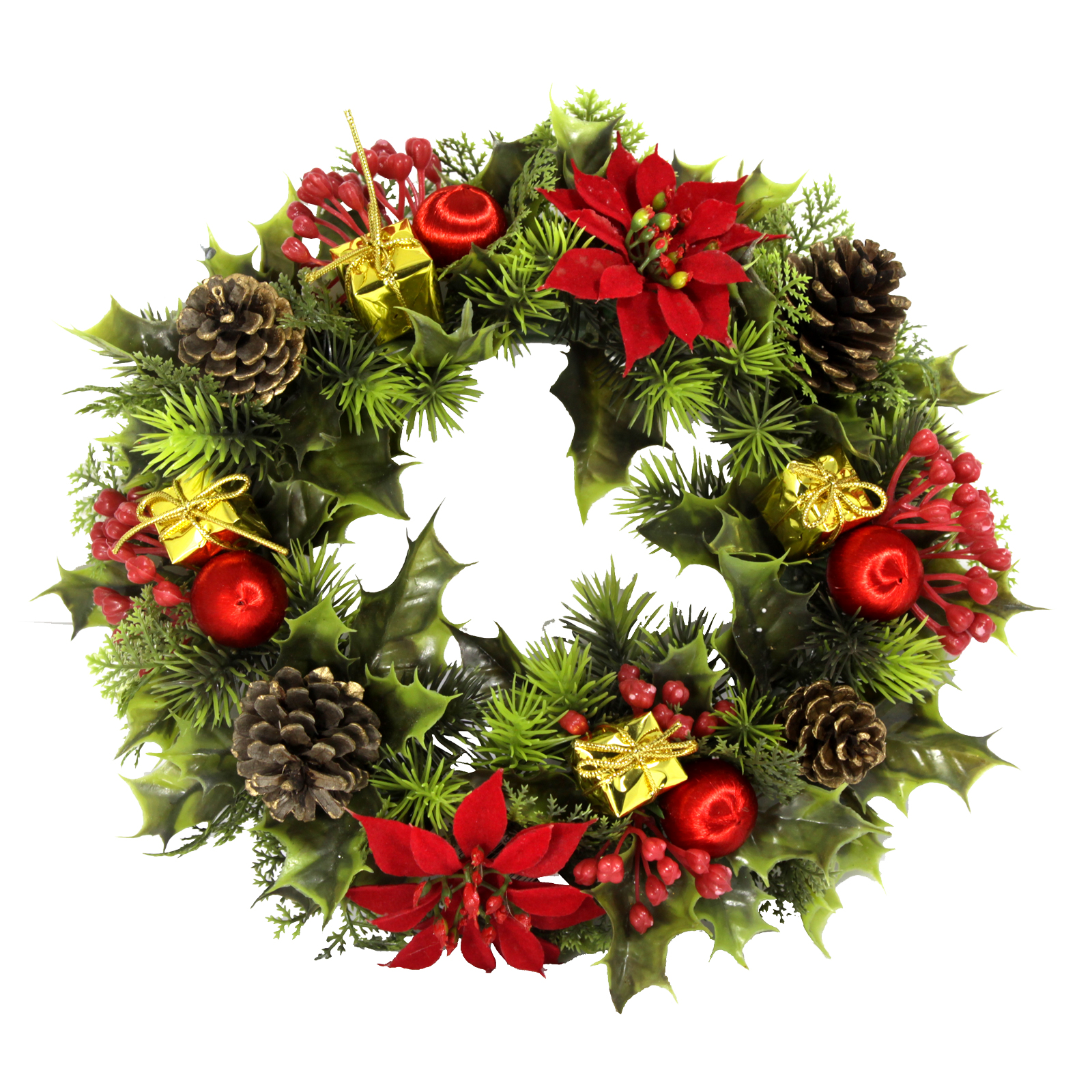 PLASTIC HOLLY WREATH POINSETTIAS RED 11 INCH