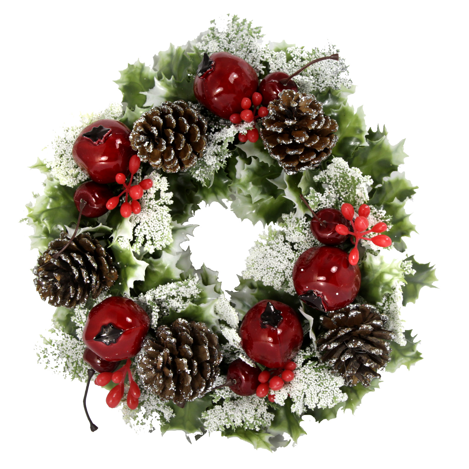 PLASTIC HOLLY WREATH POMEGRANITE VARIEGATED 11 INCH