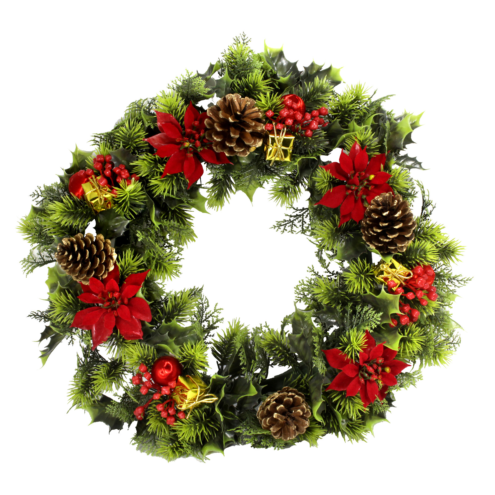 PLASTIC HOLLY WREATH LARGE POINSETTIAS RED 18 INCH