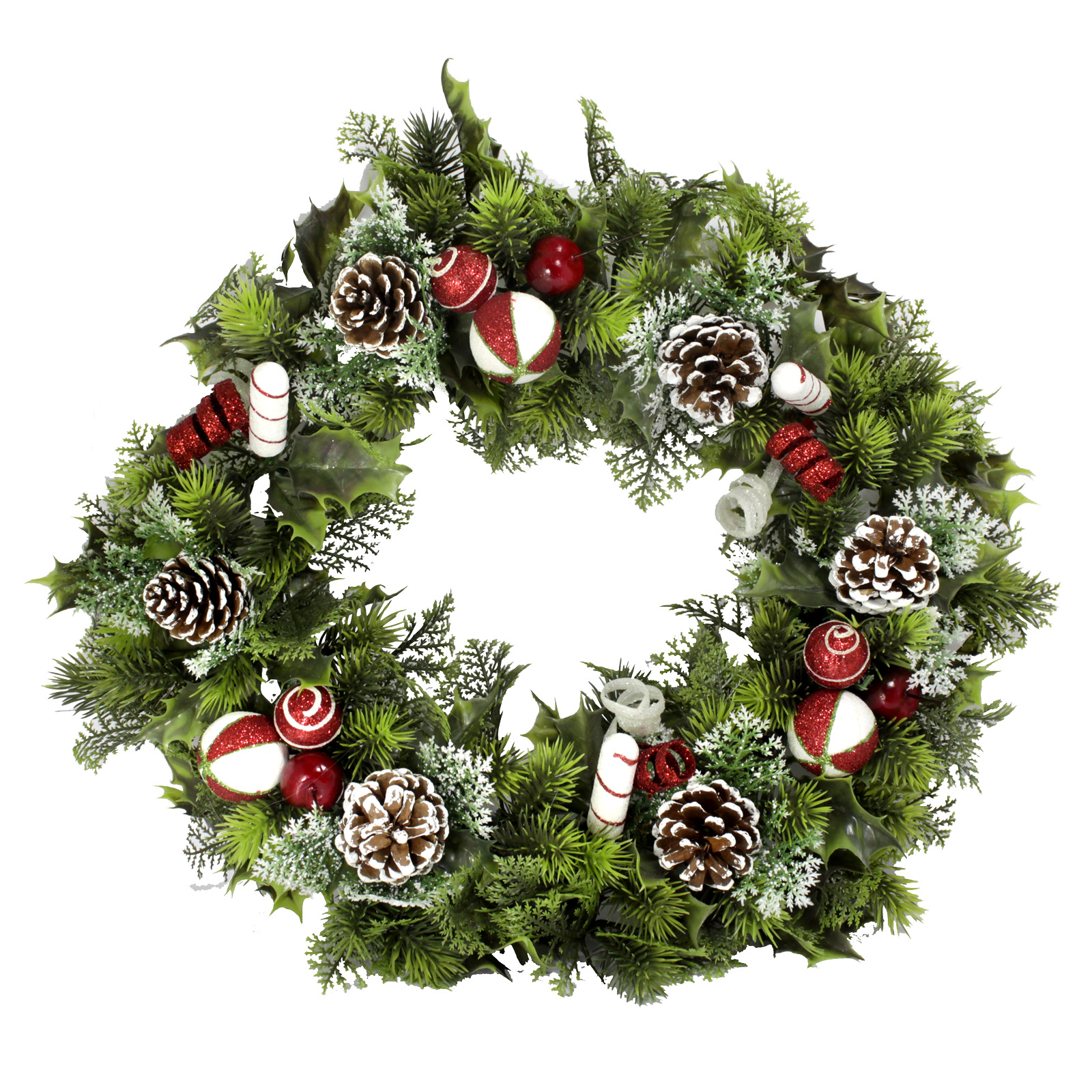 PLASTIC HOLLY WREATH LARGE CANDY CANE 18 INCH
