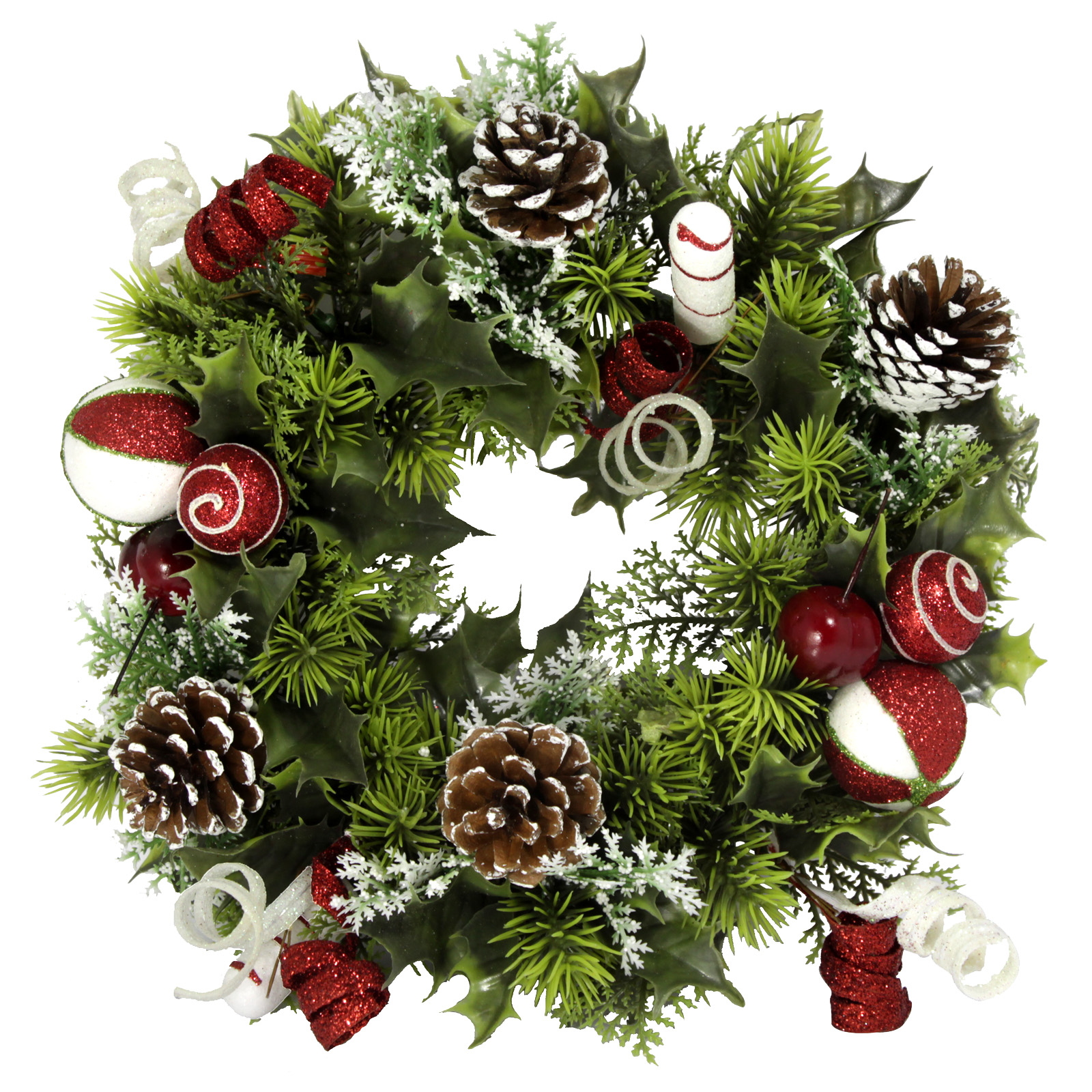 PLASTIC HOLLY WREATH CANDY CANE 11 INCH