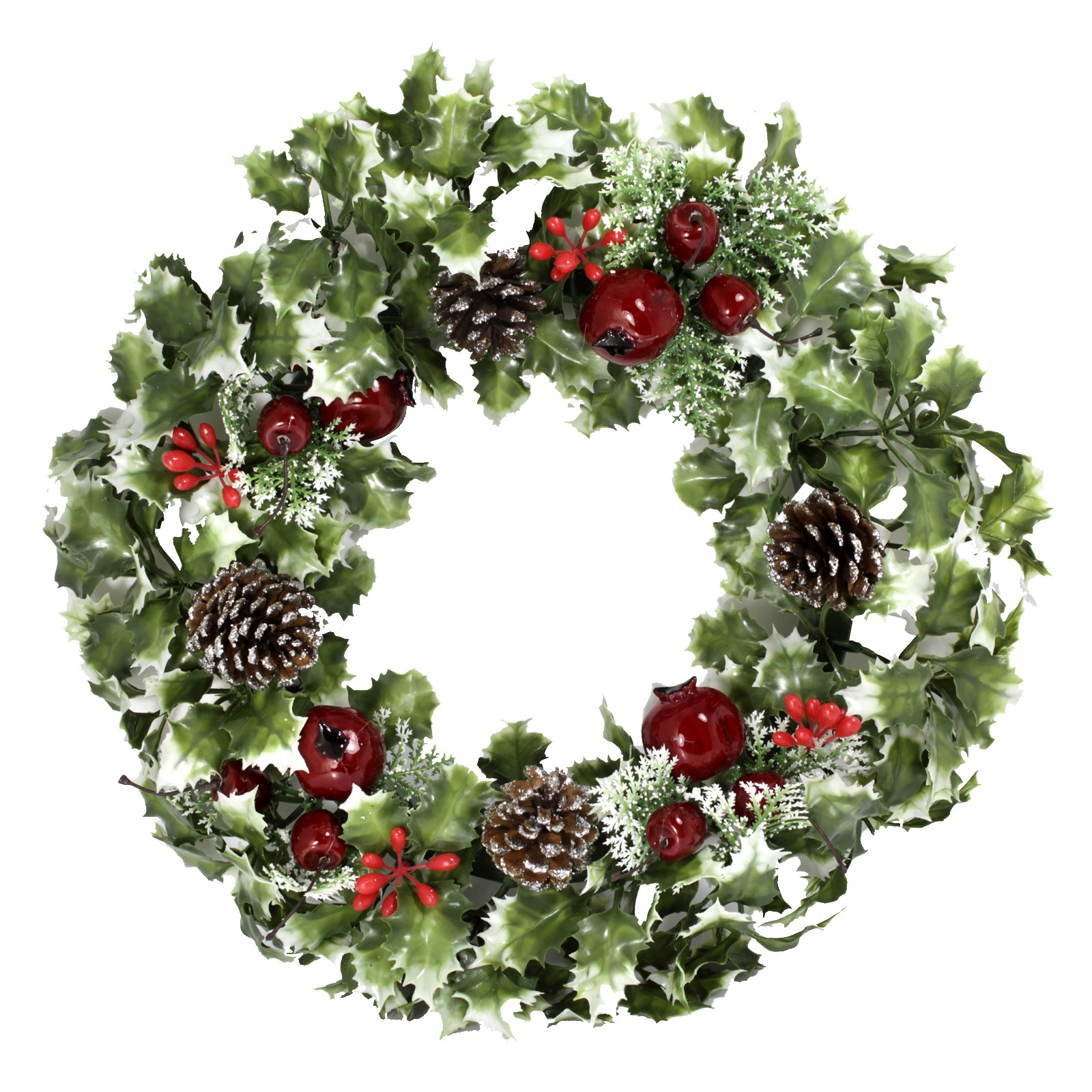 PLASTIC HOLLY WREATH LARGE POMEGRANITE VARIEGATED 18 INCH