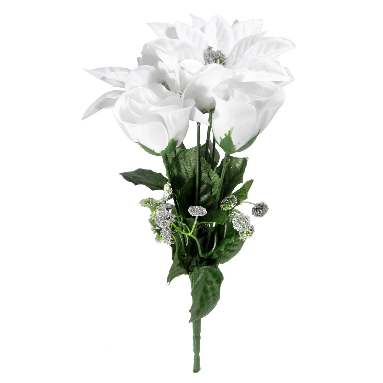 POINSETTIA & ROSEBUD WHITE/SILVER BUSH  30CM 7 HEADS